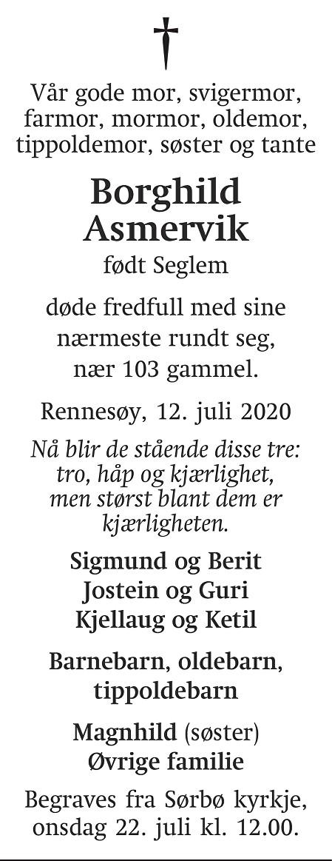 Borghild Asmervik Dødsannonse