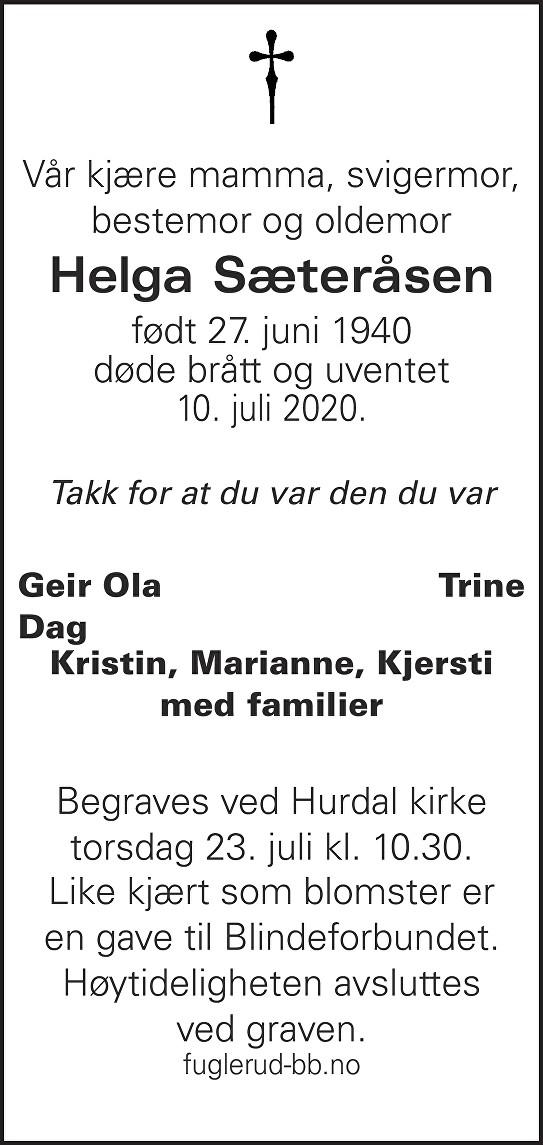 Helga Sæteråsen Dødsannonse