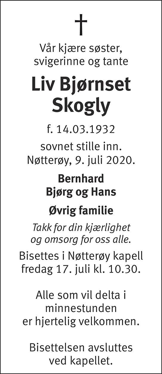 Liv Bjørnset Skogly Dødsannonse