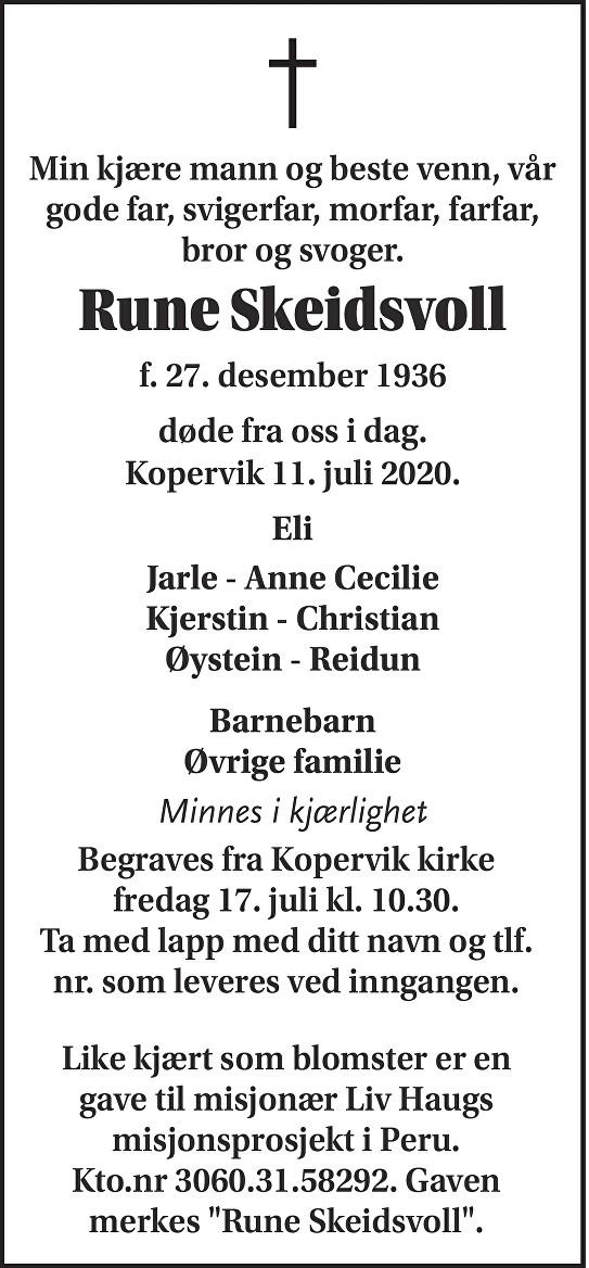Rune Skeidsvoll Dødsannonse