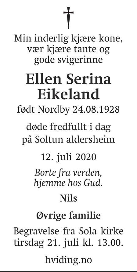 Ellen Serina Eikeland Dødsannonse