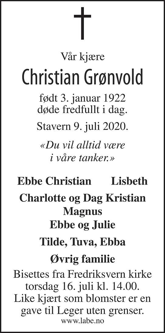 Christian Grønvold Dødsannonse