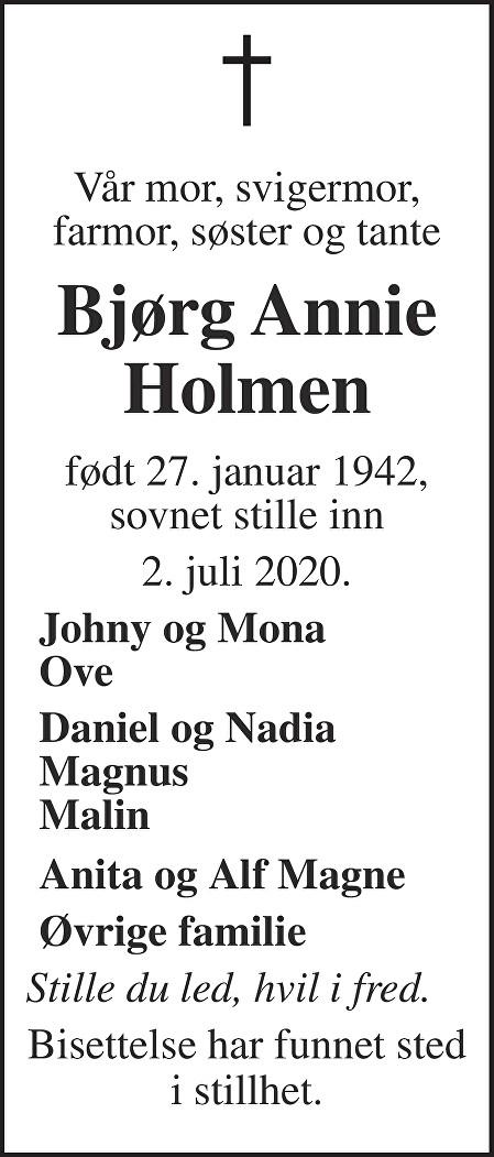 Bjørg Annie Holmen Dødsannonse