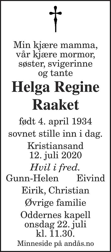 Helga Regine Raaket Dødsannonse