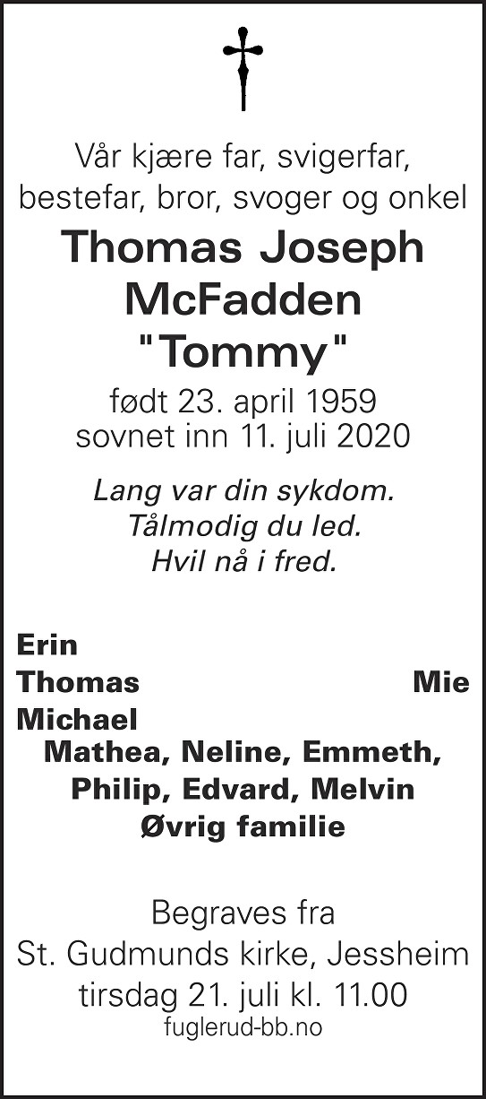 Thomas Joseph McFadden Dødsannonse