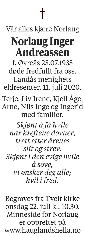 Norlaug Inger Andreassen Dødsannonse
