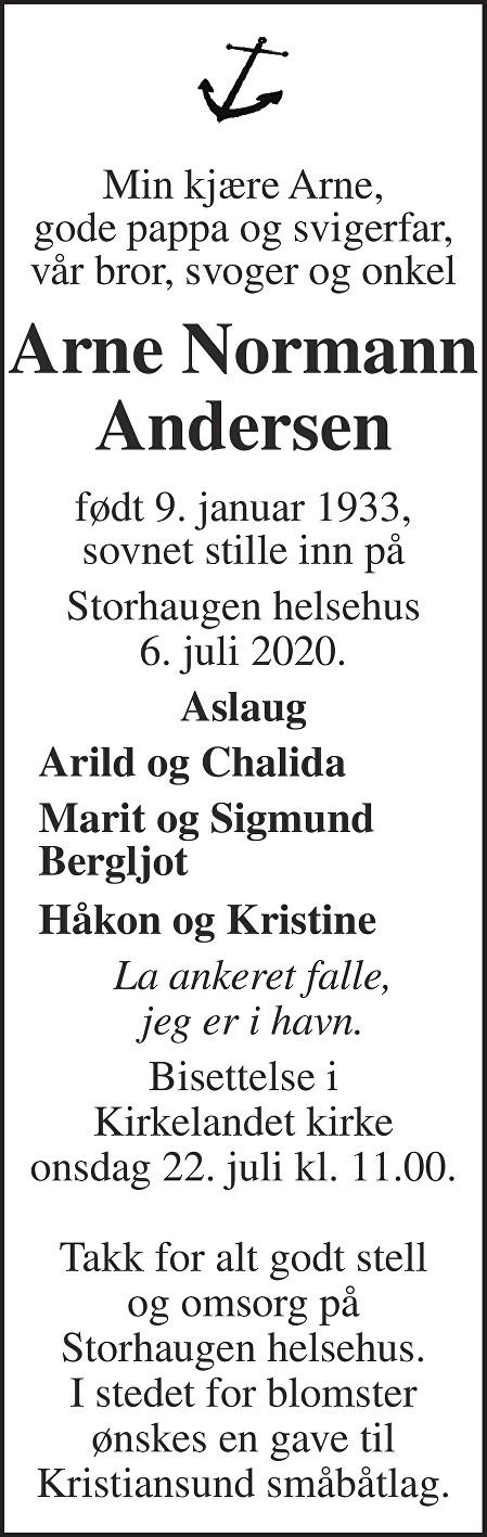 Arne Normann Andersen Dødsannonse