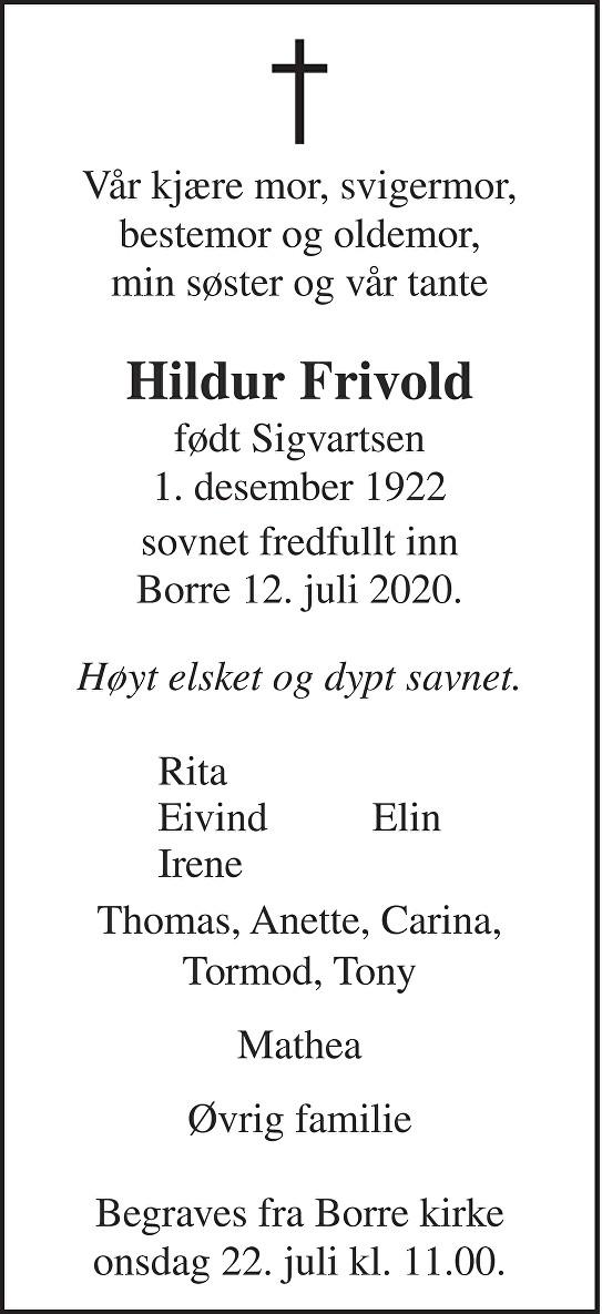 Hildur Marie Frivold Dødsannonse