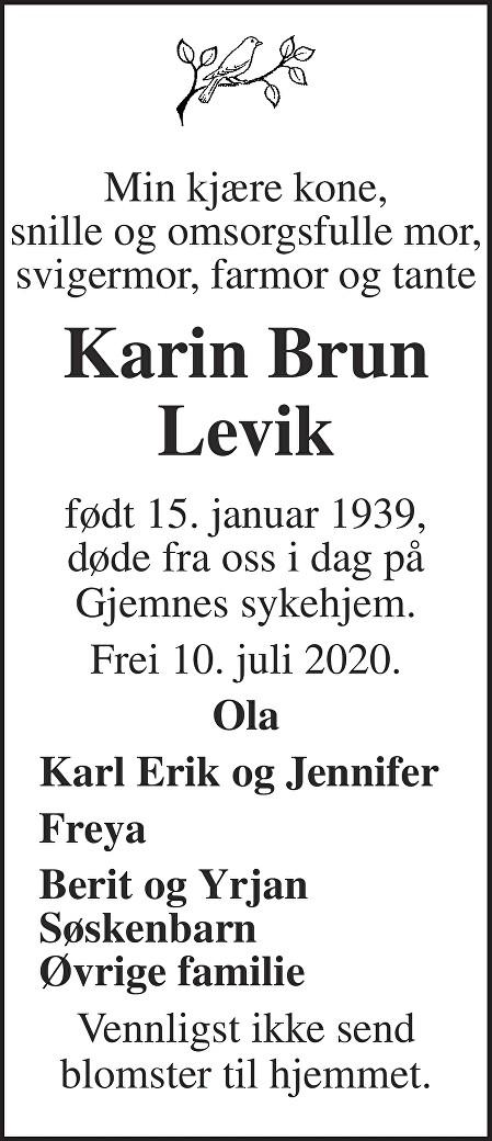 Karin Brun Levik Dødsannonse