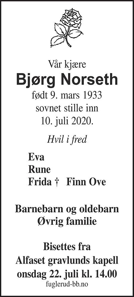 Bjørg Norseth Dødsannonse