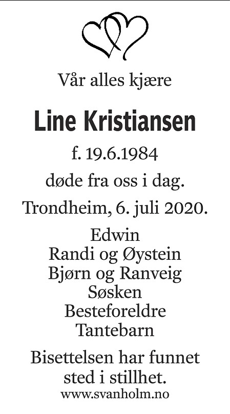 Line Kristiansen Dødsannonse