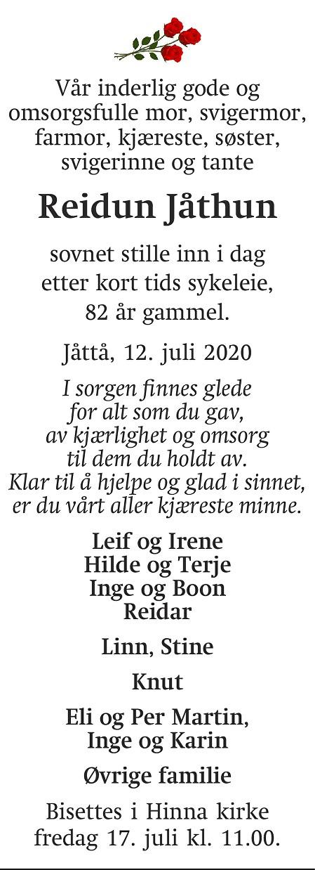 Reidun Helen Jåthun Dødsannonse