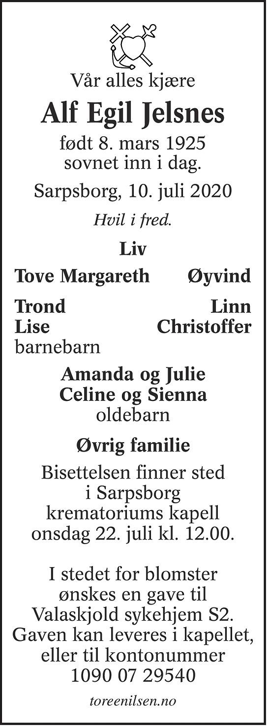 Alf Egil Jelsnes Dødsannonse