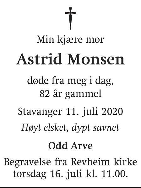Astrid Monsen Dødsannonse