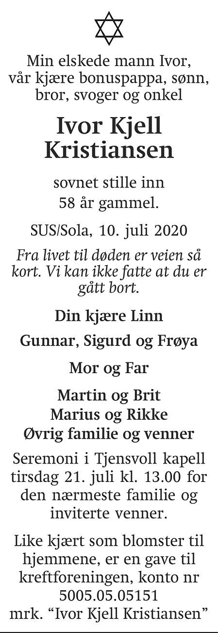 Ivor Kjell Kristiansen Dødsannonse
