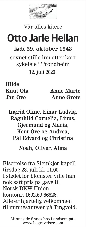 Otto Jarle Hellan Dødsannonse