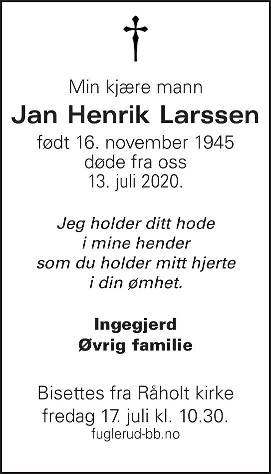 Jan Henrik Larssen Dødsannonse