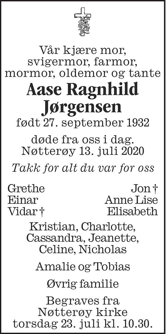 Aase Ragnhild Jørgensen Dødsannonse