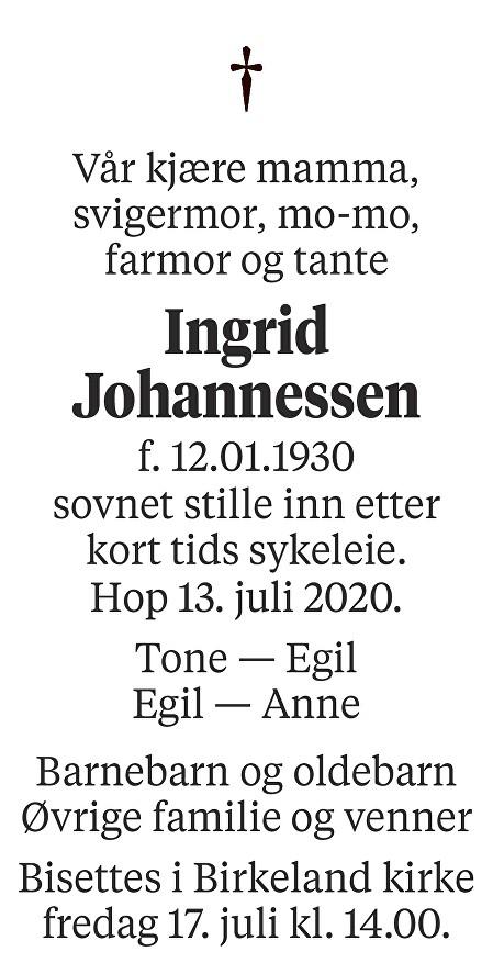 Ingrid Johannessen Dødsannonse