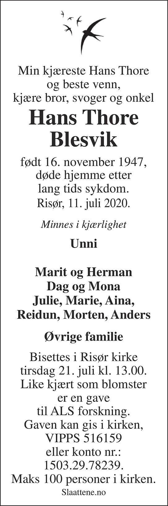 Hans Thore  Blesvik Dødsannonse