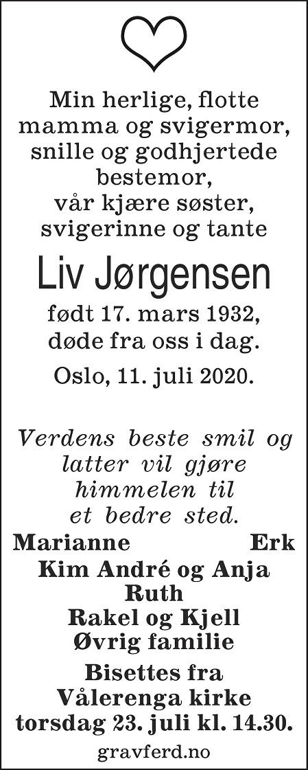 Liv Jørgensen Dødsannonse