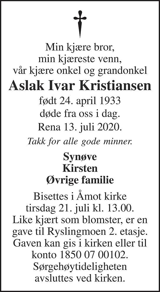 Aslak Ivar Kristiansen Dødsannonse