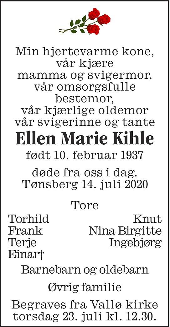 Ellen Marie Kihle Dødsannonse