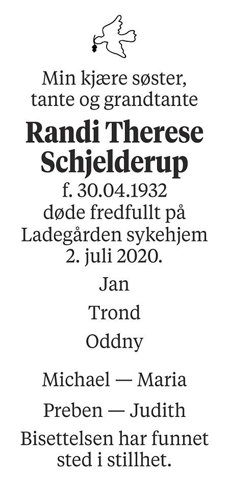 Randi Therese Schjelderup Dødsannonse