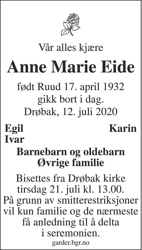 Anne Marie Eide Dødsannonse