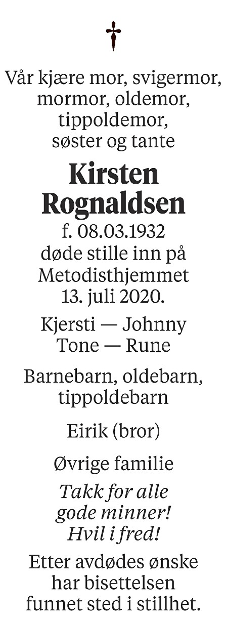 Kirsten Rognaldsen Dødsannonse