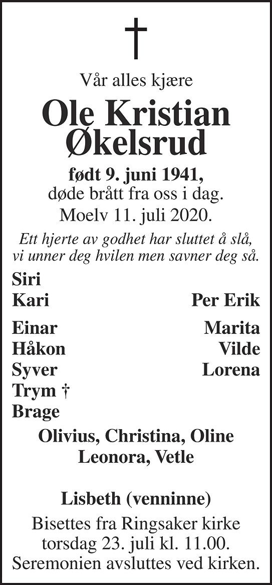 Ole Kristian Økelsrud Dødsannonse