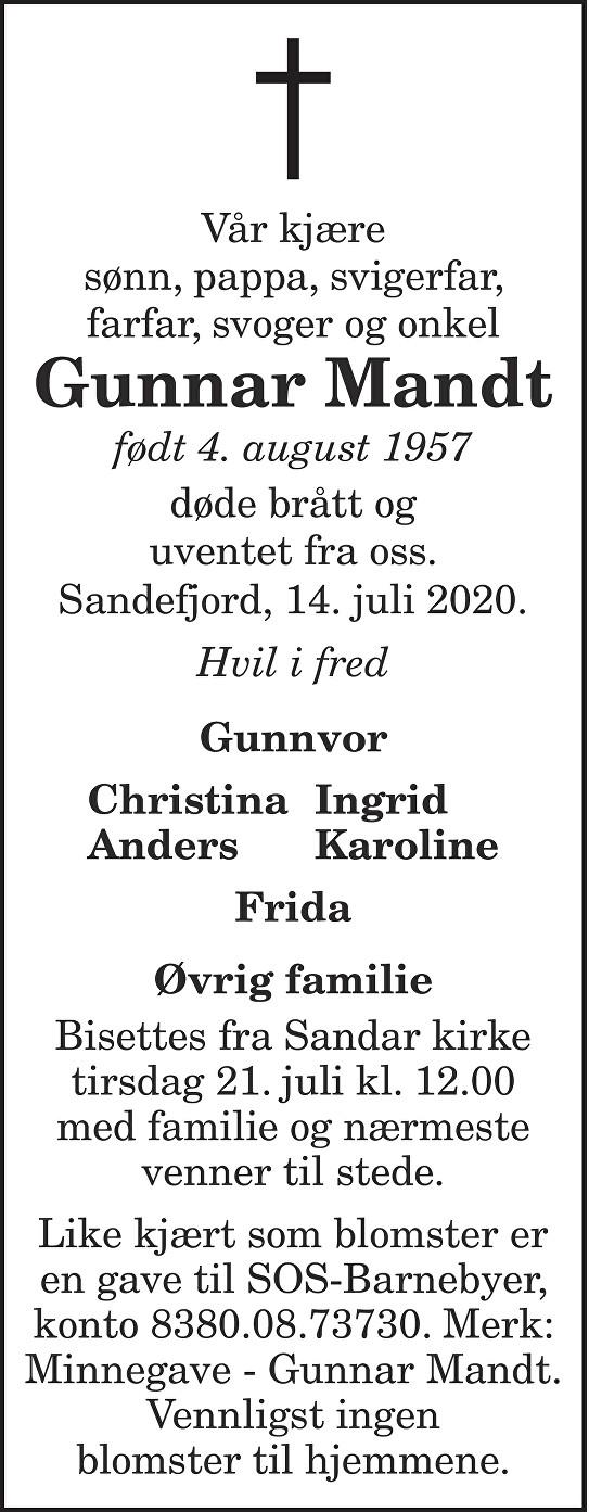 Gunnar Mandt Dødsannonse