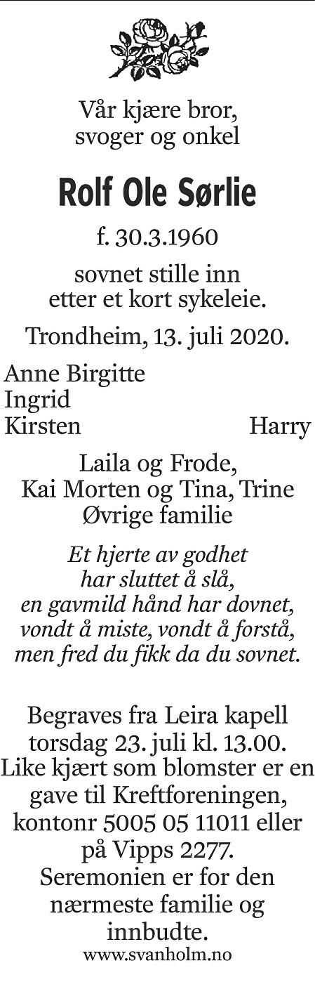 Rolf Ole Sørlie Dødsannonse