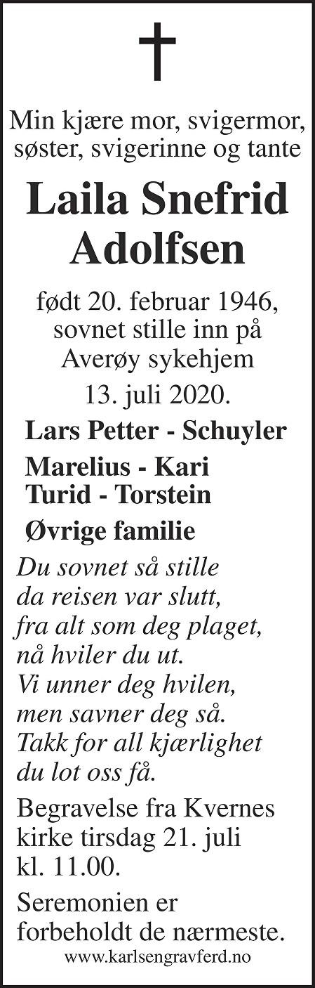 Laila Snefrid Adolfsen Dødsannonse