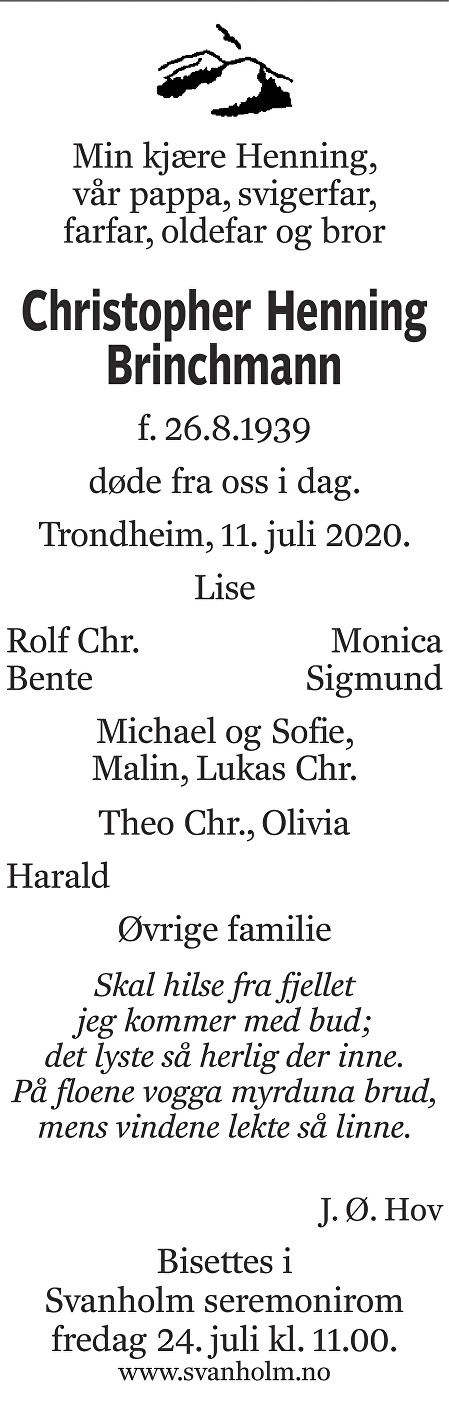 Christopher Henning Brinchmann Dødsannonse