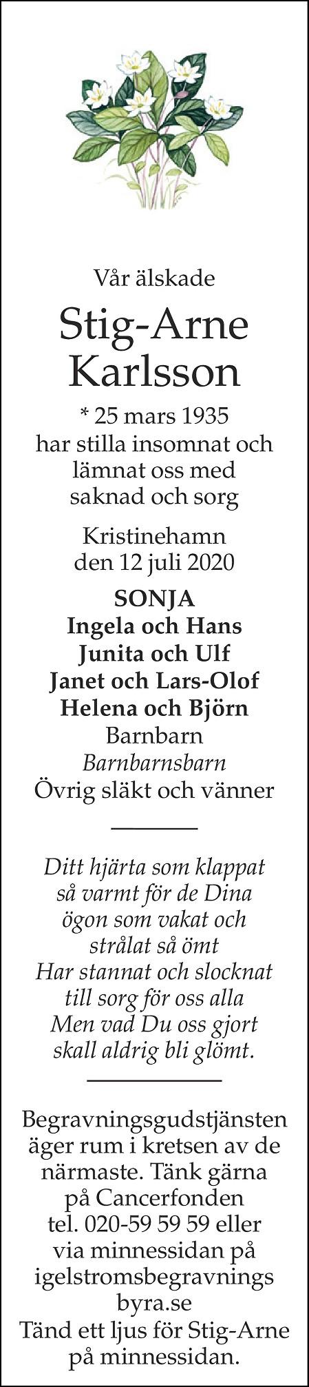 Stig-Arne Karlsson Death notice