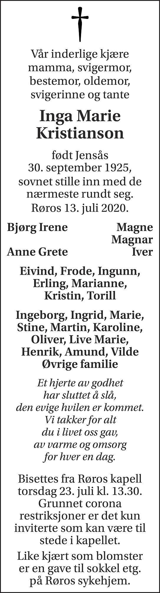 Inga Marie Kristianson Dødsannonse