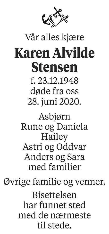 Karen Alvilde Stensen Dødsannonse