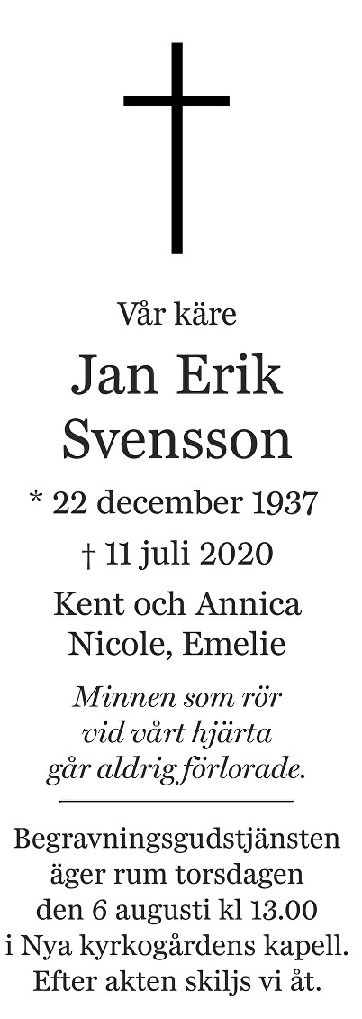 Jan Erik Svensson Death notice