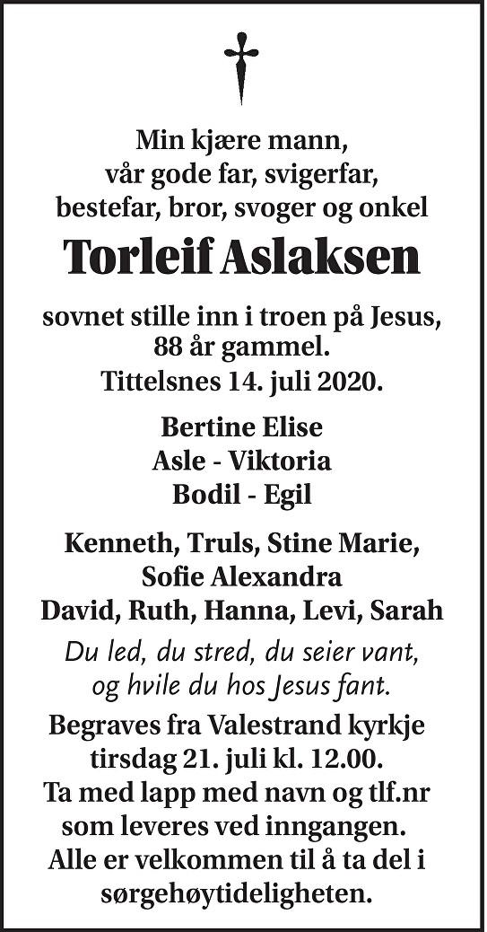 Torleif  Aslaksen Dødsannonse