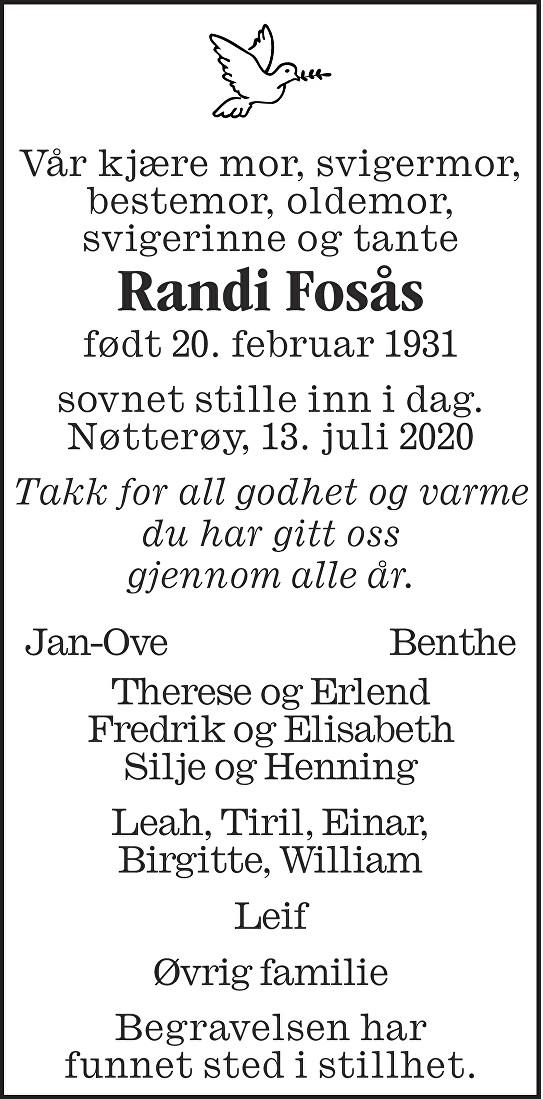 Randi Fosås Dødsannonse