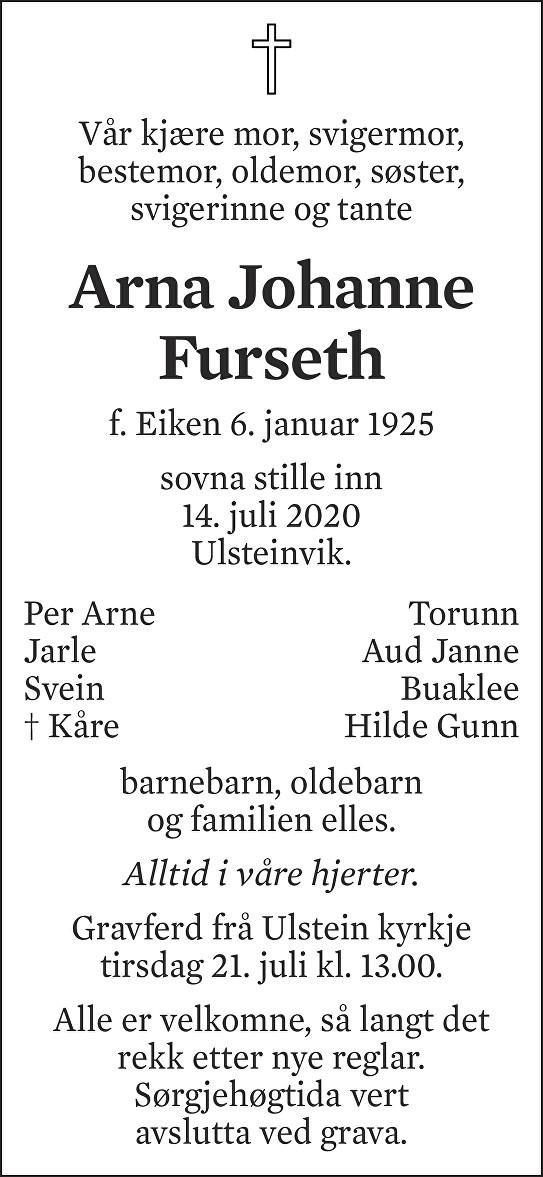 Arna Johanne Furseth Dødsannonse