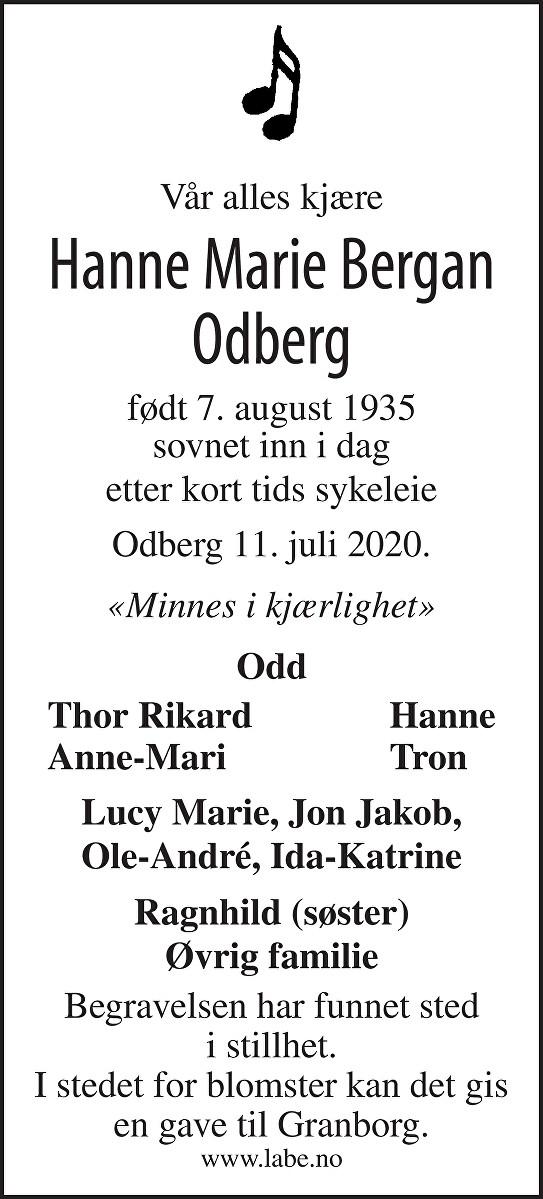 Hanne Marie Bergan Odberg Dødsannonse