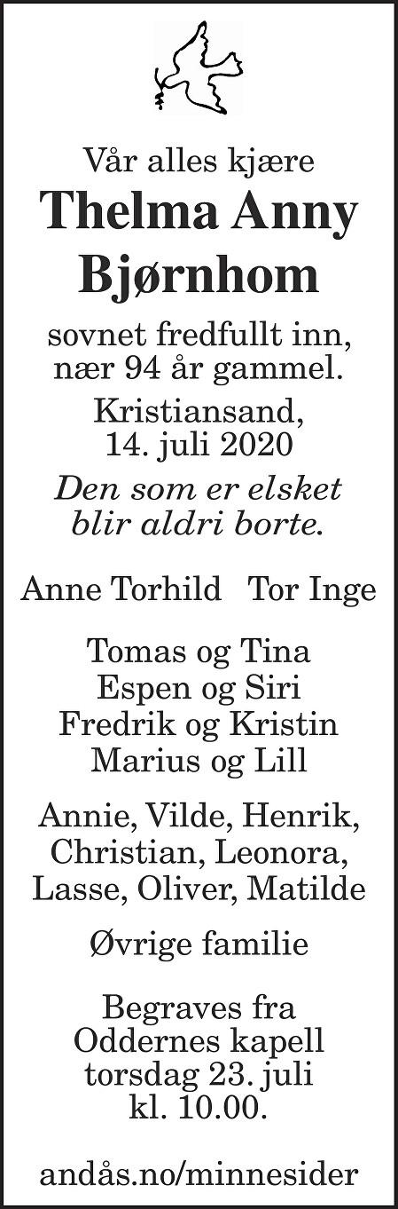 Thelma Anny Bjørnhom Dødsannonse
