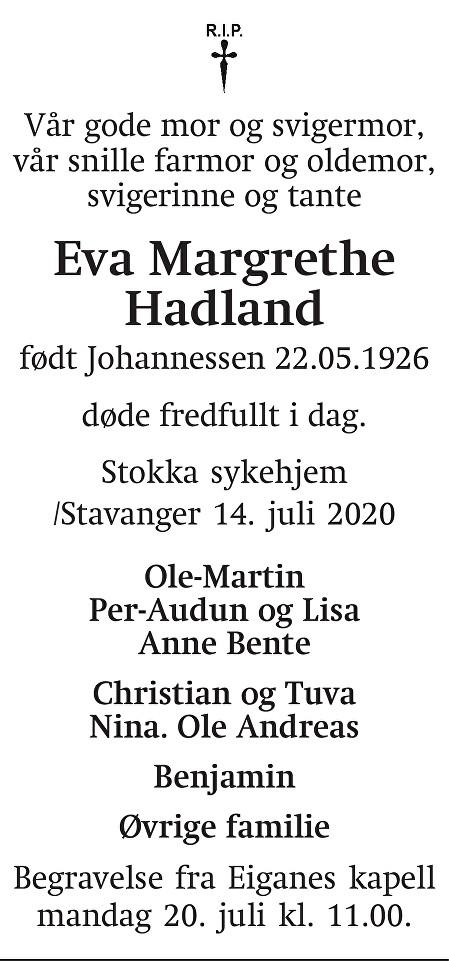 Eva Hadland Dødsannonse