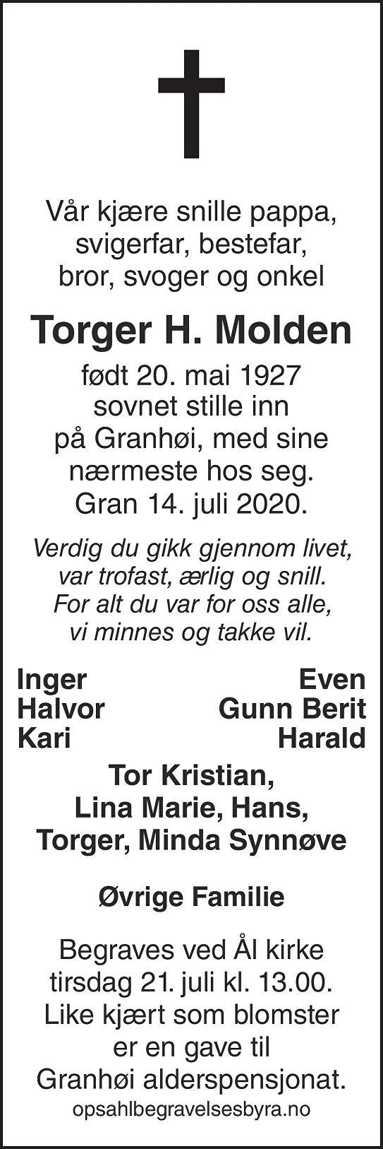 Torger H. Molden Dødsannonse