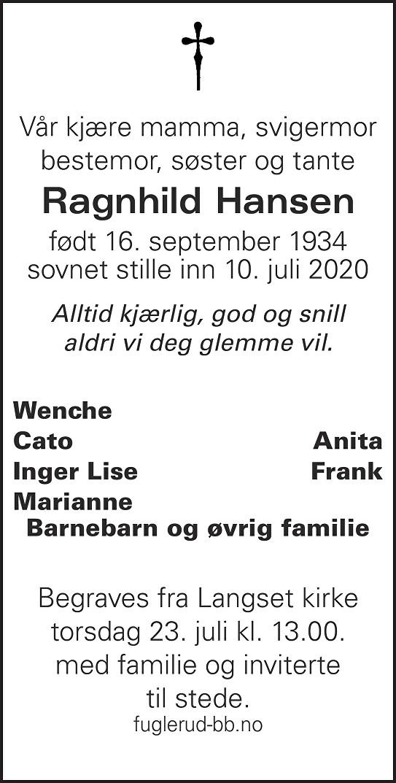 Ragnhild Hansen Dødsannonse