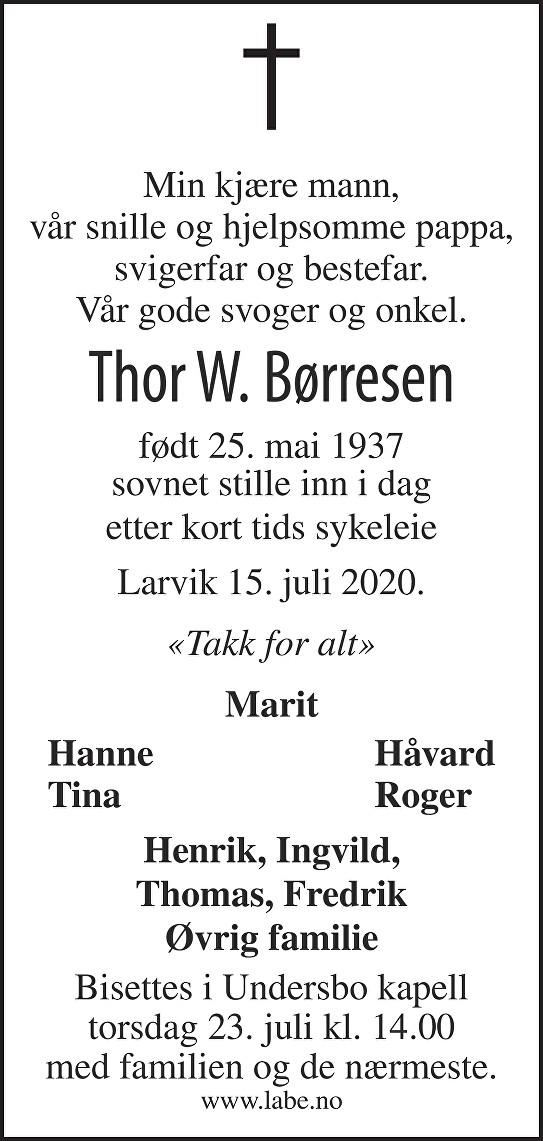 Thor William Børresen Dødsannonse