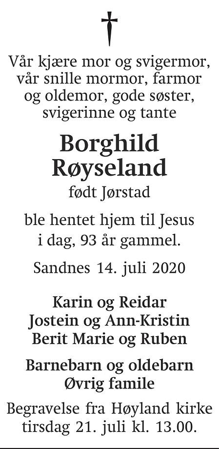Borghild Røyseland Dødsannonse