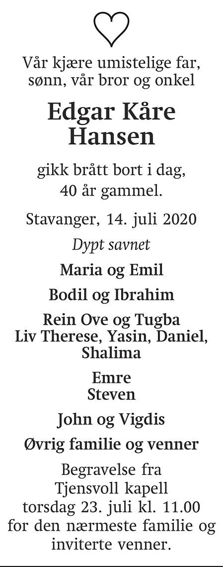 Edgar Kåre Hansen Dødsannonse